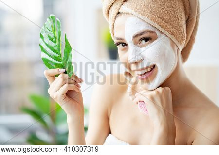 Skin Care, Woman With Beautiful Facial Skin Applying Mask On Face