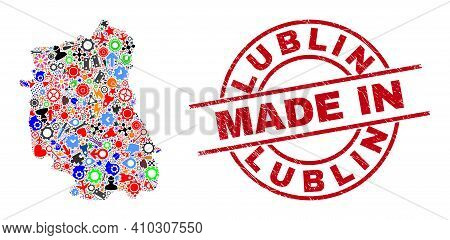Service Mosaic Lublin Voivodeship Map And Made In Scratched Stamp. Lublin Voivodeship Map Collage Co