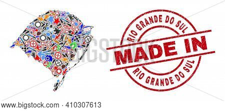Education Mosaic Rio Grande Do Sul State Map And Made In Distress Watermark. Rio Grande Do Sul State