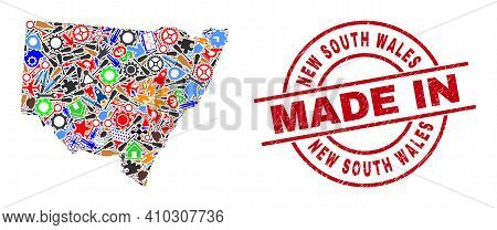 Production New South Wales Map Mosaic And Made In Grunge Stamp. New South Wales Map Abstraction Form