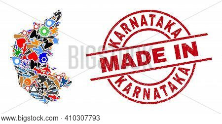 Science Mosaic Karnataka State Map And Made In Grunge Rubber Stamp. Karnataka State Map Composition