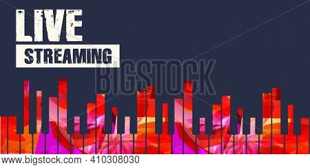 Musical Promotional Poster Background With Colorful Piano Keys Vector Illustration. Live Streaming B
