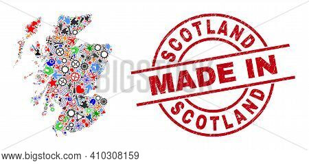 Technical Mosaic Scotland Map And Made In Textured Rubber Stamp. Scotland Map Collage Created With W
