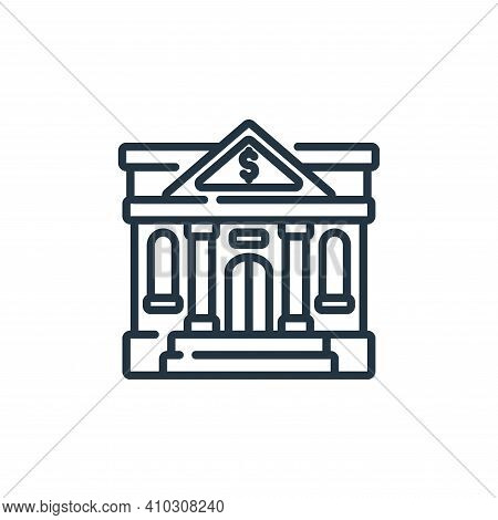 bank icon isolated on white background from banking and money collection. bank icon thin line outlin