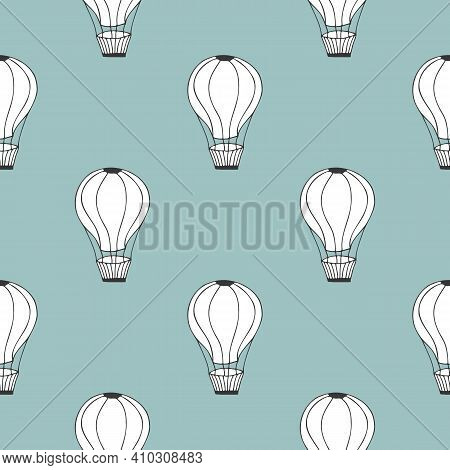 Vector Seamless Pattern With Baloon On Blue Background. Yand Drawn Doodle Pattern
