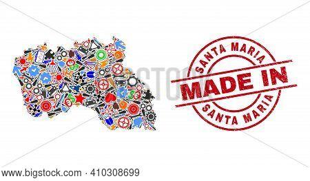 Service Santa Maria Island Map Mosaic And Made In Textured Rubber Stamp. Santa Maria Island Map Mosa