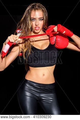 Boxing Girl. Sexy Sportswoman Preparing To Workout. Fitness And Healthy Lifestyle. Workout. Sport Wo