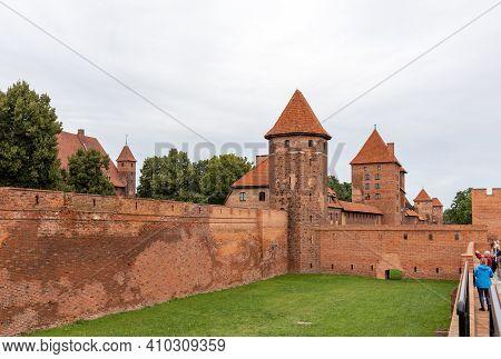 Malbork, Poland - Sept 8, 2020: Malbork Castle, Formerly Marienburg Castle, The Seat Of The Grand Ma