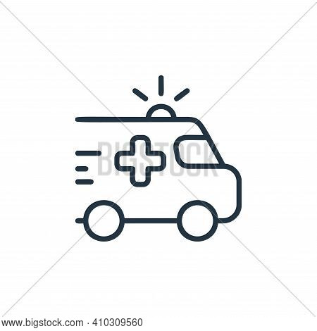 ambulance icon isolated on white background from covid collection. ambulance icon thin line outline