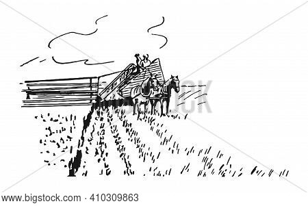 Men Plant The Harvest In The Old Way, Vector Illustration. A Horse Harnessed To A Cart Pulls A Plow