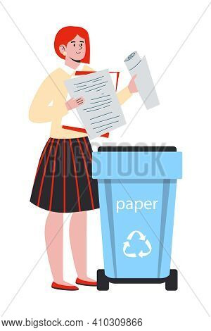Vector Illustration Waste Sorting And Recycling Concept. Woman Sorts Trash And Throw It In The Trash