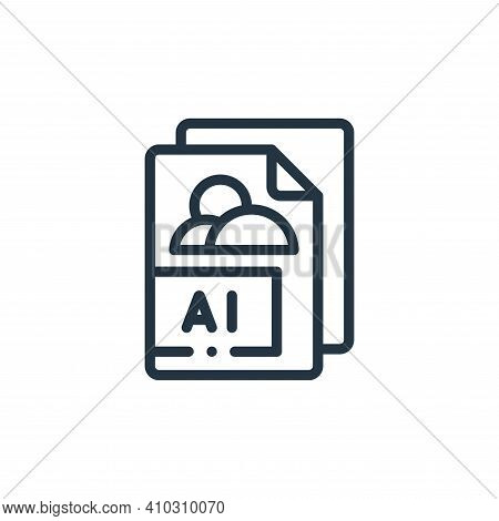 AI icon isolated on white background from design thinking collection. AI icon thin line outline line