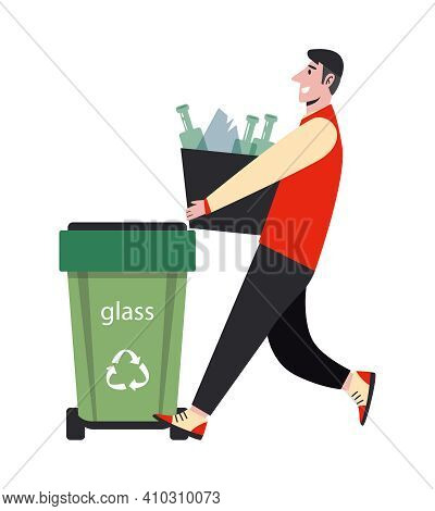 Vector Illustration Waste Sorting And Recycling Concept. Man Sorts Trash And Throw It In The Trash F