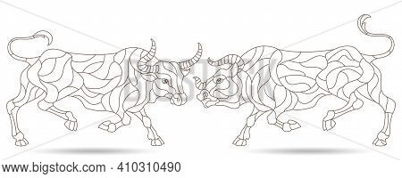 A Set Of Contour Illustrations In A Stained Glass Style With Abstract Bulls, Dark Contours Isolated