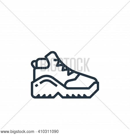 shoe icon isolated on white background from camping collection. shoe icon thin line outline linear s