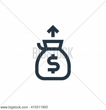 money bag icon isolated on white background from marketing and growth collection. money bag icon thi
