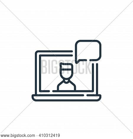 laptop icon isolated on white background from social media collection. laptop icon thin line outline