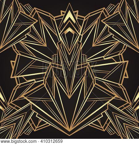 Art Deco Style Geometric Seamless Pattern In Black And Gold. Vector Illustration. Roaring 1920 Desig