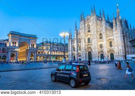 Milan, Italy - Circa September 2019: Carabineer Car, Also Named Carabinieri,  Patrolling Milan City