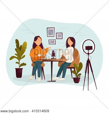 Girls Podcasters Talking To Microphones Recording Podcast In Studio Podcasting. Vector Flat Illustra