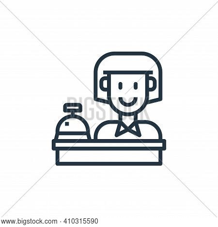 reception icon isolated on white background from hotel collection. reception icon thin line outline