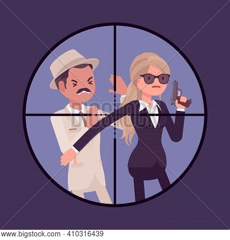 Bodyguard Woman Protecting Important Famous Man In Optical Sniper Sight. Security, Focus Aiming To V