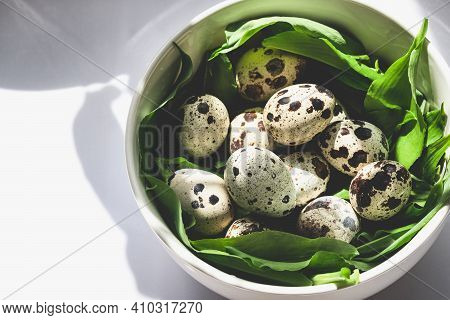 Quail Eggs In A Bowl With Ramson On White Sunny Background. Easter And Spring Celebration Food Conce