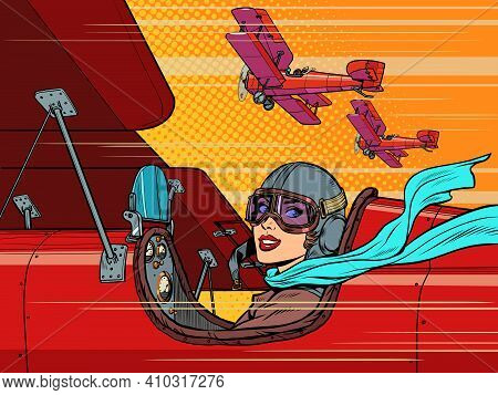 Female Retro Pilot. Aviation And Piloting. Pop Art Retro Vector Illustration Vintage Kitsch 50s 60s