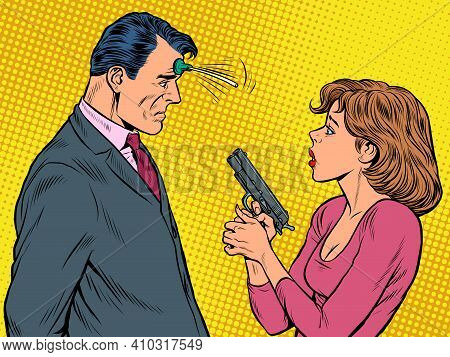 The Woman Pointed The Gun Suction Cup Joke At The Man. Spies, Agents And Detectives. Pop Art Retro V