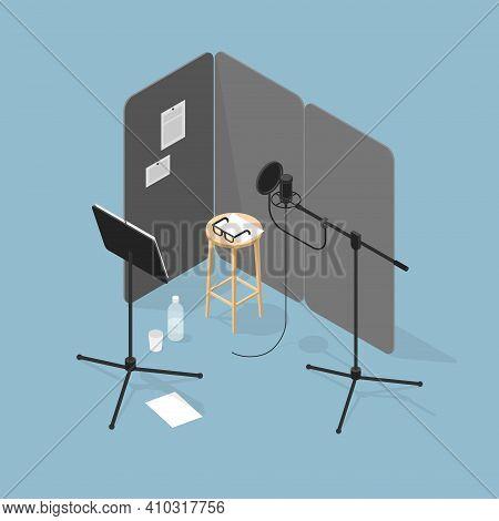Vector Isometric Voice Recording Illustration. Vocal Recording Studio Equipment - Condenser Micropho