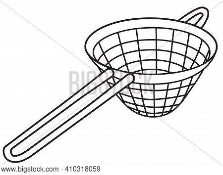 Hand-drawn Doodle Cartoon Style Vector Image. Fine Mesh Strainer Bar Accessory. For Bar Menu, Barten