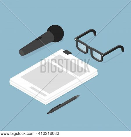 Vector Isometric Music Recording Contract Concept Illustration. Contract With Pen, Vocal Microphone,