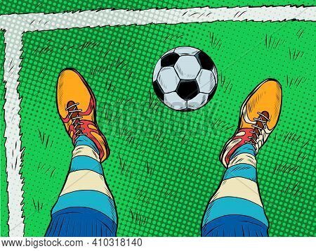Soccer Player And Ball Feet Shoes Profession. Pop Art Retro Vector Illustration Vintage Kitsch 50s 6