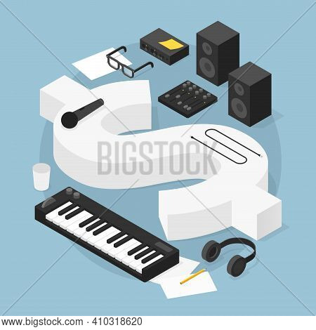 Vector Isometric Sound Production Concept Illustration. Money Sign With Sound Production Equipment -