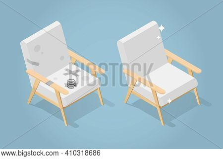 Vector Isometric Before And After Armchair Restoration Illustration. Old Dirty Armchair And Restored