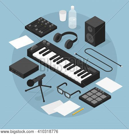 Vector Isometric Sound Production Illustration. Sound Production Equipment - Piano, Vocal Microphone