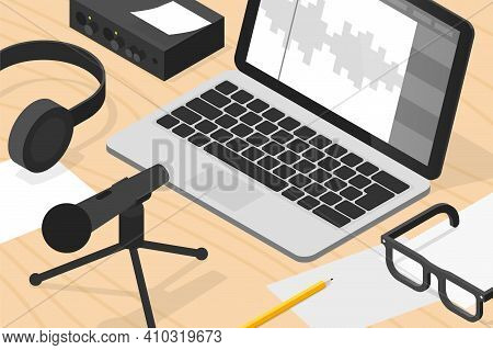 Vector Isometric Sound Production Illustration. Sound Production Equipment - Laptop, Vocal Microphon