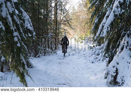 Single Moountain Biker Riding Through A Snowy Forest