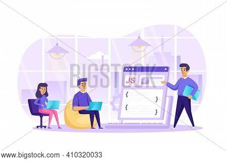 Web Development At Office Scene. Developers Programming, Making Website Coding, Working On Laptops.