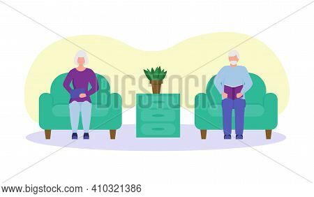Elderly People Read At Home. Mini Composition. Old People Together, Grandparents Love.happy Old Man