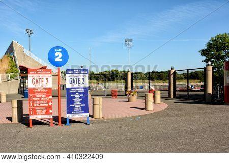 STONY BROOK, NEW YORK - 24 MAY 2015: Gate 2 Entrance to LaValle Stadium at Stony Brook University.