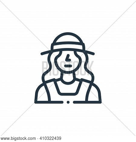 farmer icon isolated on white background from in the village collection. farmer icon thin line outli