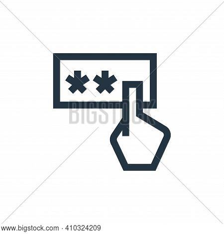 pin code icon isolated on white background from payment collection. pin code icon thin line outline