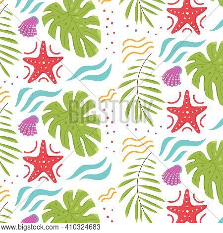 Pattern Of Summer Tropical Leaves Monstera Starfish Seashells. Seamless Vector Background