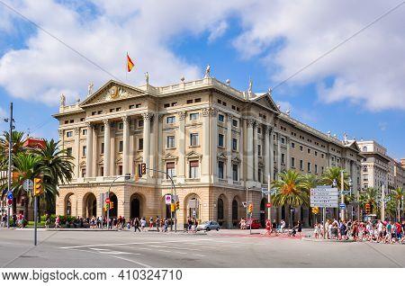 Barcelona, Spain - June 2018: Military Building On Barcelona Embankment Near La Rambla Street