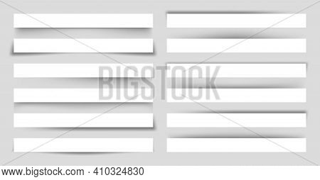 Set Of White Blank Paper Scraps With Shadows. Page Dividers On Gray Background. Realistic Transparen