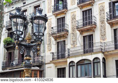 Barcelona Architecture On La Rambla Street, Spain