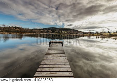Empty Wooden Pier On Lake. Autumn Pond With Old Jetty. Serenity Scenery.meditation Without People.mo