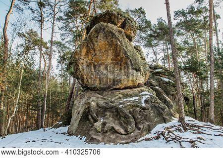 Rock Relief Formation Called Snake,cz Had. Carved Into Sandstones.monumental Giant Snake Artwork In