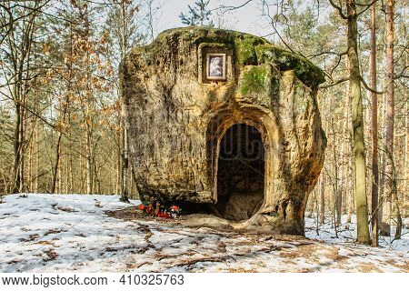 The Cave And Chapel Of Mary Magdalene Carved In Sandstone.artworks In Pine Forest Near Zelizy Villag